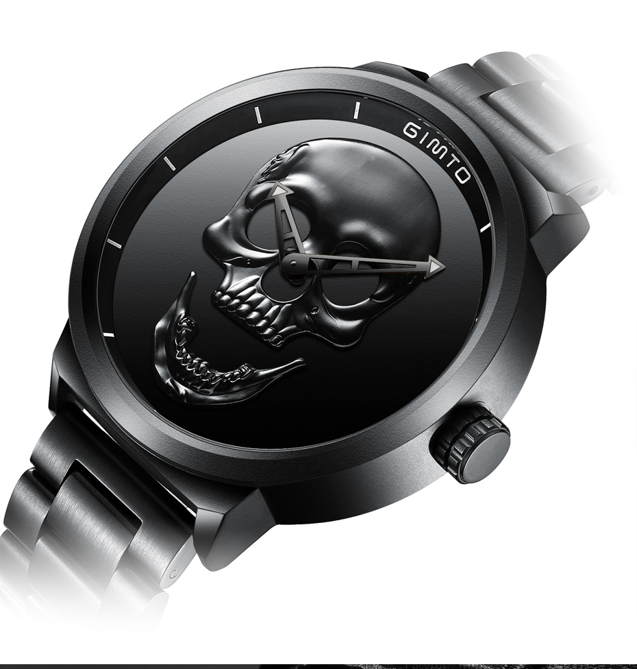 2018 Cool Punk 3D Skull Men Watch Brand GIMTO Luxury Steel Gold Black Vintage Quartz Male Watches sport clock Relogio Masculino 19
