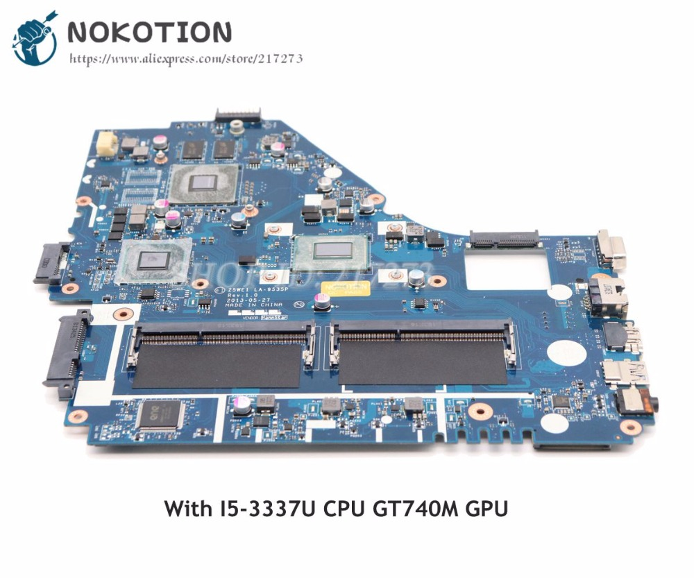NOKOTION For Acer aspire E1-570 E1-570G Laptop Motherboard Z5WE1 LA-9535P NBMER11001 NB.MER11.001 I5-3337U CPU GT740M graphics nb meq11 001 for acer aspire e1 530 e1 570 z5we1 laptop motherboard la 9535p nbmeq11001 intel pentium 2117u sr0vq cpu onboard
