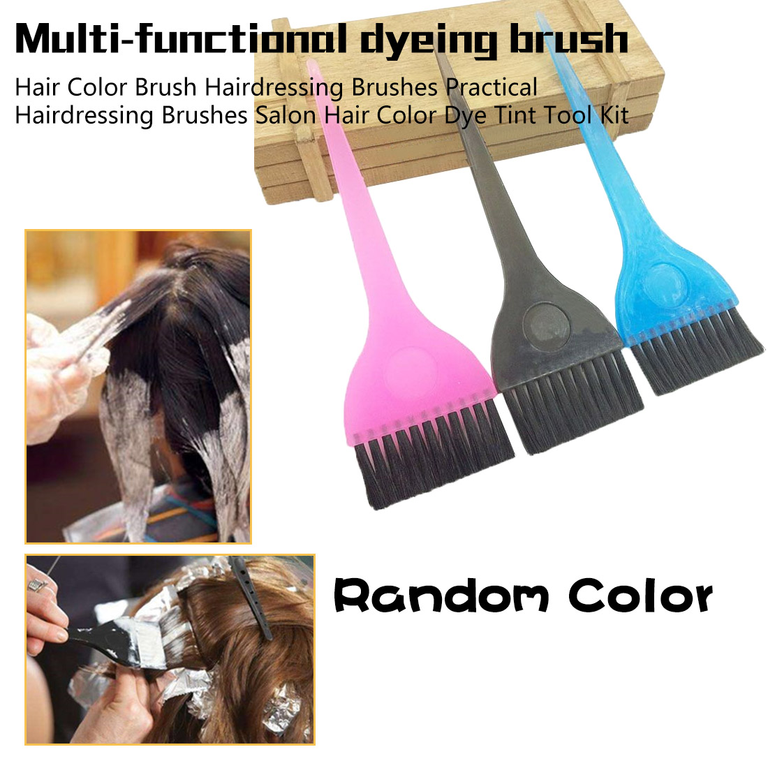 Hairdressing Brushes Hair Color Brush Practical Hairdressing Brushes Salon Hair Color Dye Tint Tool Kit Color Randomised