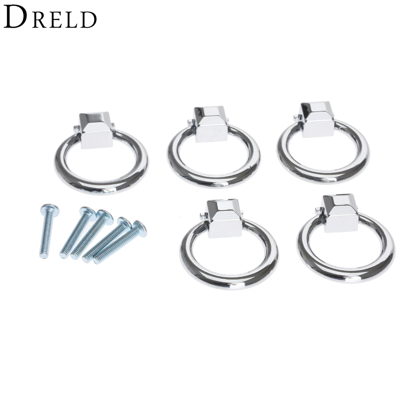 Drled 5pcs Antique Furniture Ring Knobs Pull Handle