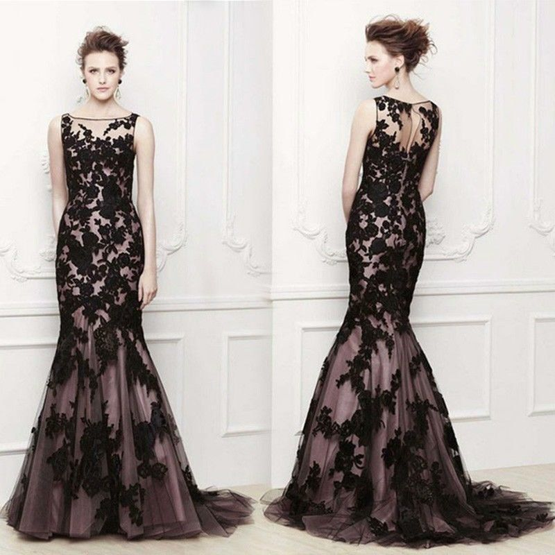 Wholesale and retail Stock 2014 Long Black Applique Evening Formal ...