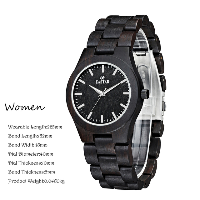 Eastar Women Wooden Watch Analog Quartz Lightweight Handmade Wood Wrist Watch With black Wooden Face Japanese movement 1