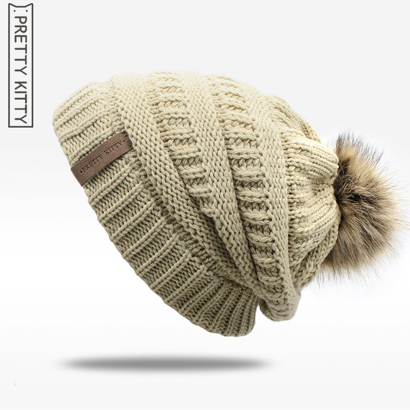 2017 hot Double layer fur ball cap pom poms winter hat for women girls hat knitted beanies cap thick female cap kukilonglong winter warm caps for women knitted beanies cap brand new thick female cap fox fur ball double layer hats for girls
