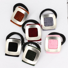 2017 New Velvet Square Alloy Hair Bands Fashion Women Girls Ponytail Holder Popular Button Hair Bands Hair Accessories