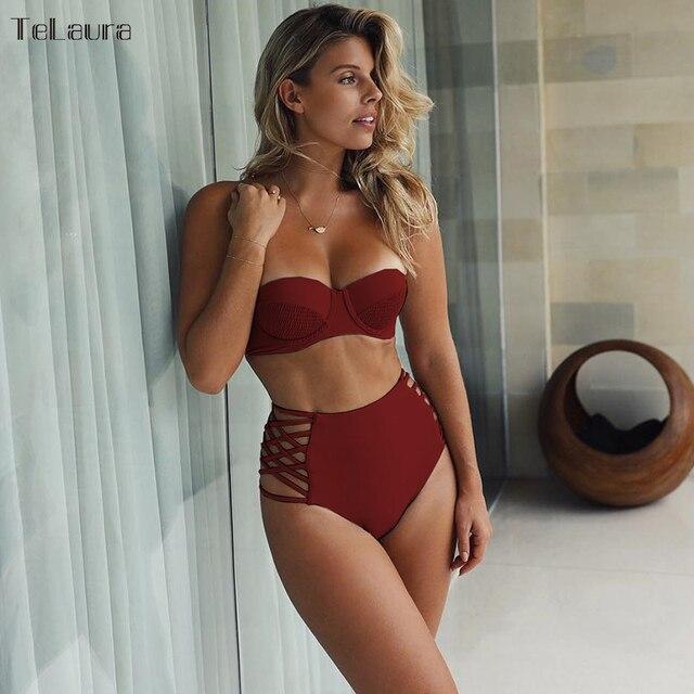 2018 High Waist Bikini Women Swimwear Push Up Swimsuit Bandage Bikini Set Biquini Hollow Out Bathing Suit Solid Swim Suit Female 2