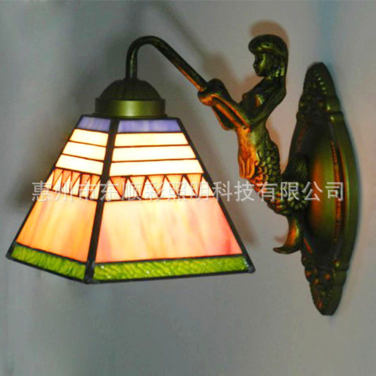 Cheap European stained glass lamps bedroom living room dining lamp aisle entrance hotel rooms Tiffany wall sconce