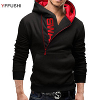 YFFUSHI 2018 Classical Design Casual Men Sweatshirt Long Sleeve Letter Print Pocket Men Hooded Pullover Autumn
