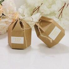 Embalagem de papel embalagem caixa de papelão 50 peças, criativo caixa de papelão lanterna hexágono artesanal caixa de presente caixa de doces festa de casamento lembranças de presente de papel