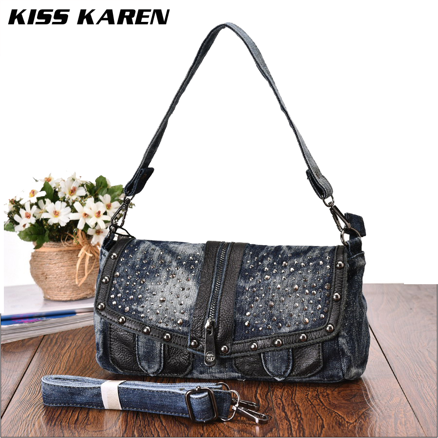 U30fe(^ ^)uff89KISS KAREN Casual Fashion Rivets u15db Denim Denim Bag Womenu0026#39;s Shoulder Bags u1402 Ladies Ladies ...