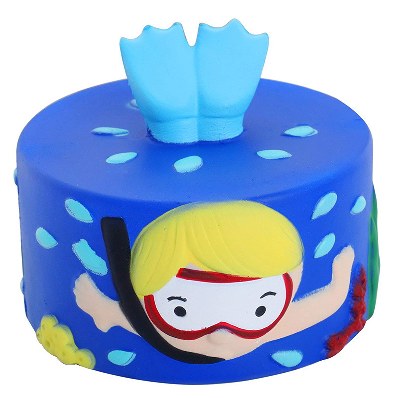 New Jumbo Squishy Cartoon Diving Cake Cute Slow Rising Fashion Soft Squeeze Toy Original Package Fun For Kids Toy Xmas Gift