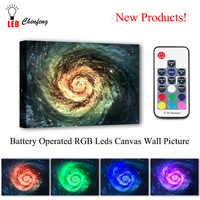 Colorful RGB Leds Canvas Wall Decor Galaxy background space Picture Remote control Canvas Print Illuminated painting kids Gift