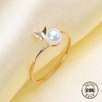 Роскошная натуральная G18K кольца из желтого золота для Для женщин Регулируемый свободный размер обручальное кольцо Мода из чистого золота с
