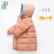 -20 HH Winter jacket girls coat Thickening Collar Hooded long coat Cotton down baby boy jacket For Kids Teenage Outwear стоимость