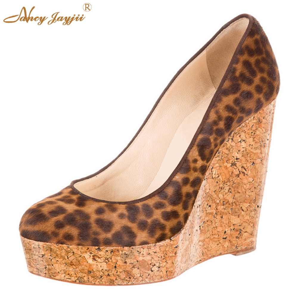 ФОТО NJ New Woman Spring/Summer Sexy Brown/Tan Leopard Pointed Toe Wedges With Lacquered Cork Heels Pumps Shoes Women High Heel 4-16