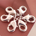Wholesale 1pack=20pcs 925 Sterling Silver Lobster Clasp Jewelry Findings Free Shipping