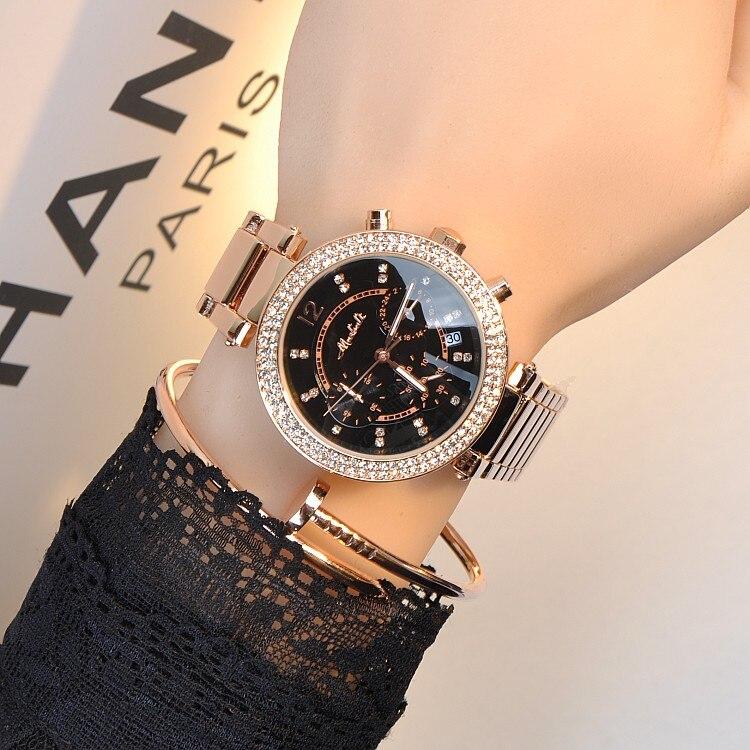 ФОТО New Fashion Famous Brand Quartz Watch Multi-function Dress Watch Black Luxury Watch Lady Steel Band Dress Watch Bangle Bracelet
