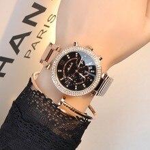Nueva Moda de Marca Famosa Reloj de Cuarzo multifunción Reloj de Vestir Negro Banda de Acero de Lujo Del Reloj de Señora Vestido Reloj de Pulsera pulsera