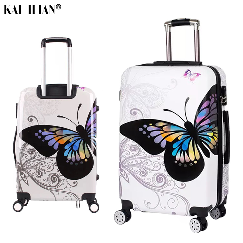 20/24/28 suitcase on wheels Women travel trolley rolling luggage double face butterfly fashion Student spinner cabin luggage20/24/28 suitcase on wheels Women travel trolley rolling luggage double face butterfly fashion Student spinner cabin luggage
