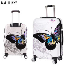 20/24/28'' suitcase on wheels Women travel trolley rolling luggage double face butterfly fashion Student spinner cabin luggage(China)