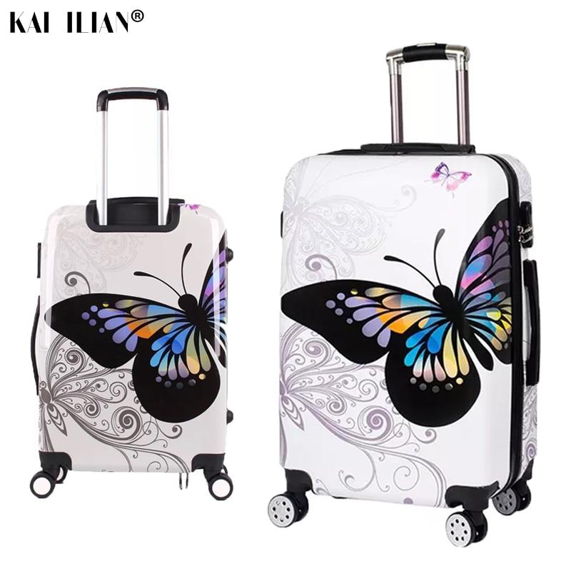 20/24/28 ''valise sur roues femmes voyage chariot roulant bagages double face papillon mode étudiant spinner cabine bagages