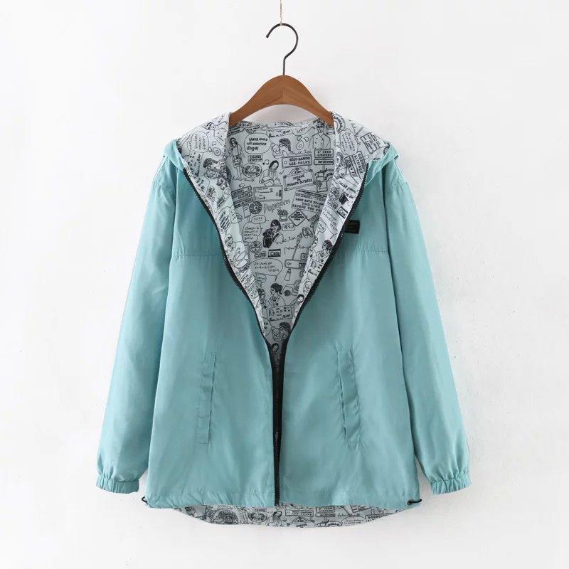 2018 Spring Women   Basic     Jacket   Hooded Two Side Wear Ladies Coats Pocket Zipper Cartoon Print Outwear Loose Plus Size Coat RE0187