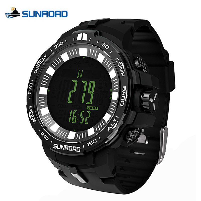 SUNROAD 861 Weather Forecast Altimeter Barometer Thermometer Outdoor Sports Women Watches Compass Waterproof Fishing Watch Men new outdoor sports digital watch chronograph barometer altimeter thermometer compass fashion men women watch spovan spv806