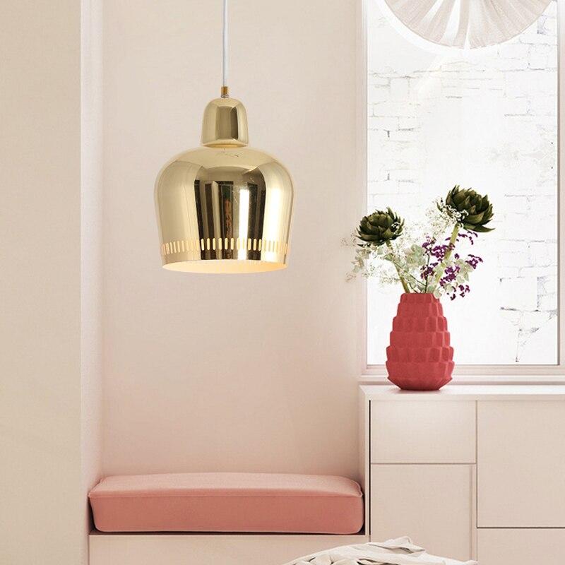 الشمال الحديثة الذهب قلادة LED أضواء غرفة نوم غرفة الطعام المطبخ hanglampen ل eetkamer E27 LED مصباح اديسون ضوء لمبة