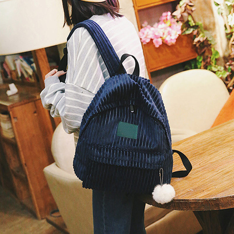 Women Lady Girl Student Backpack Schoolbag Corduroy Zipper Vintage For Books Travel LT88
