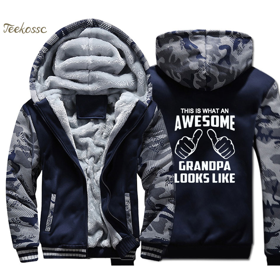 This Is What An Awesome Grandpa Looks Like Hoodies Men Gift For Grandpa Sweatshirts Coats Thick Fleece Camouflage Funny Jackets