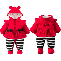 Princess style Baby Girl Winter Rompers Hooded Lace Cute RomperGirls Warm Clothes Costome Kids Jumpsuit Baby clothes set