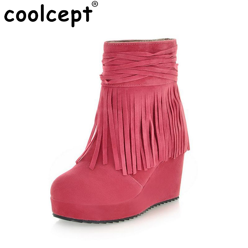 women wedges half short sexy boots winter snow boot classics bohemia fringe footwear warm botas shoes P19932 size 34-39
