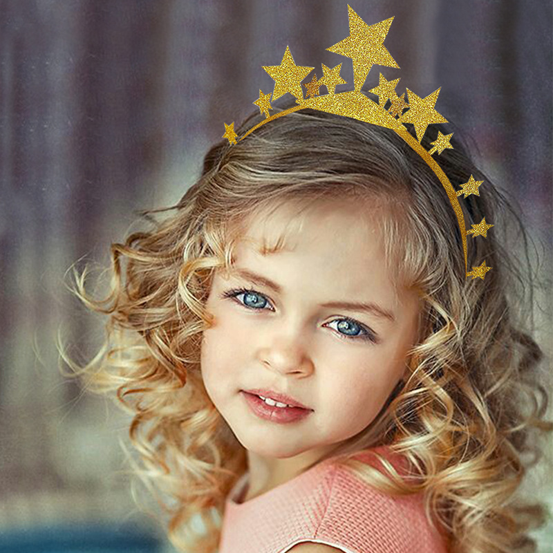 6pcs/pack Gold Pink Glitter Crown Headband Hat Stars Birthday Hat for Adults Children Birthday Party Wedding Hen Party Hairband
