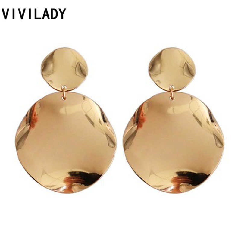 VIVILADY Fashion Gold Color Round Metal Dangle Drop Earrings Women African Wedding Brincos Boho Jewelry Party Gift Drop Shipping