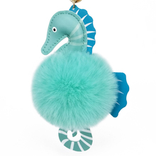 Seahorse keychain with Pu Leather Pompom Fur Balls Women Trinkets Suspension On Bags Car Key Chain Keyrings Toy Ring Pendant