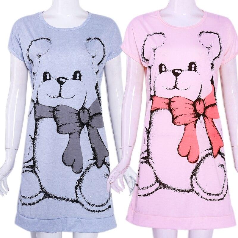 Summer Women Nightgowns Short Sleeve Dress Cute Cartoon Bear Printed Sleepwear