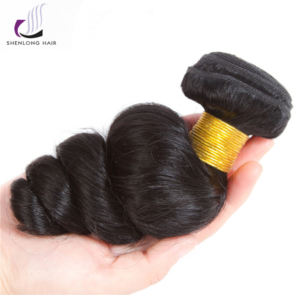 SHENLONG HAIR Loose Wave 1 Piece 8-26 Inch Non Remy Malaysian Hair Weave Bundles 100% Natural Color Human Hair Hair Extension