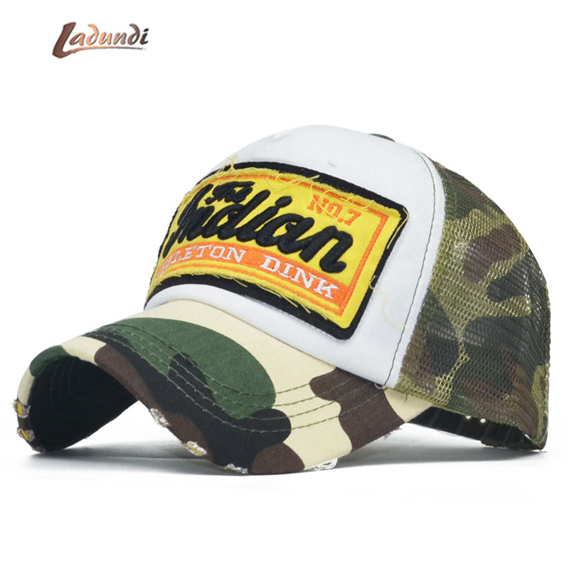 Summer Camo   Baseball     Cap   Women Men Camouflage   Baseball   Hats Snapback Bone icon Trucker mesh   Cap   Pentagram Dad Casquette Hat