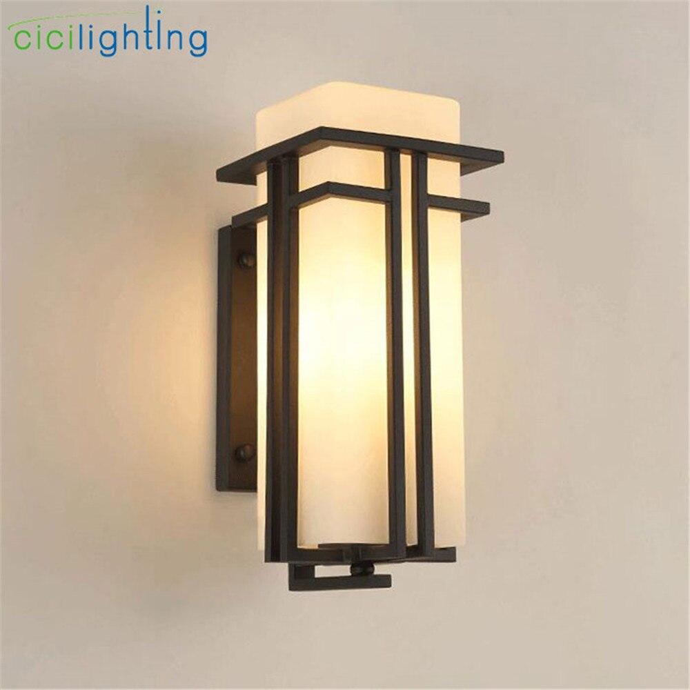 Черный открытый настенный светильник, металл + Стекло тени сада лампа внешние настенные светильники, антикварной post балкон крыльцо настенн...