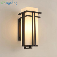 Black outdoor wall lamp, Metal +Glass shade garden lamp exterior wall lights, antique post balcony porch wall sconces lighting