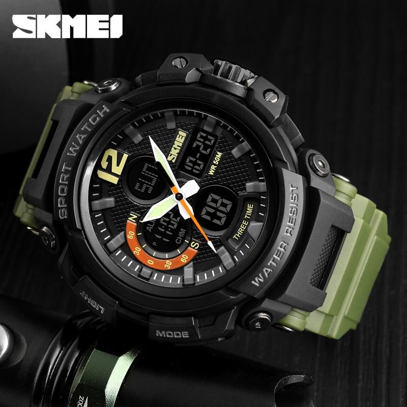 SKMEI 2018 Mężczyźni Wielofunkcyjne LED kwarcowe cyfrowe zegarki 3 - Męskie zegarki - Zdjęcie 5