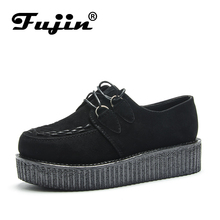 Fujin Brand Large Size Platform Flat Women Shoes Spring Autumn Female Sneakers Moccasins Leather Soft Fashion Casual