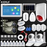 KERUI k7 дюйма TFT Дисплей Сенсорный экран аварийная сигнализация wifi GSM Главная охранной сигнализации WI FI внешние камеры IP Шторы мини ПИР клавиат