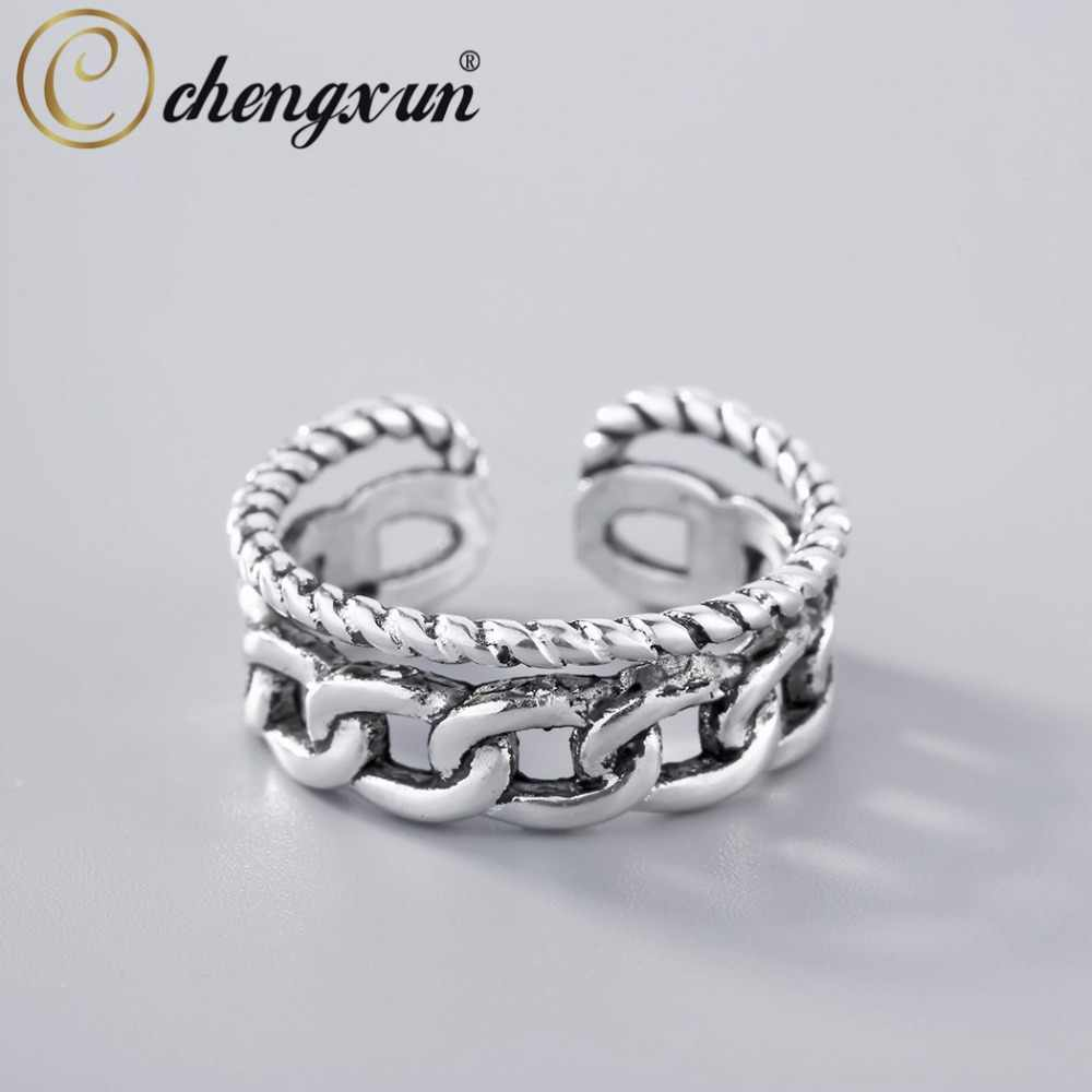 CHENGXUN Man Rings Punk Style  Double Twisted Chain Open Fingers Rings Resizable Thai