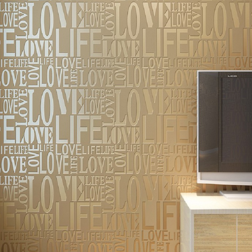Buy classic modern letter design flocked Plain white wallpaper for walls