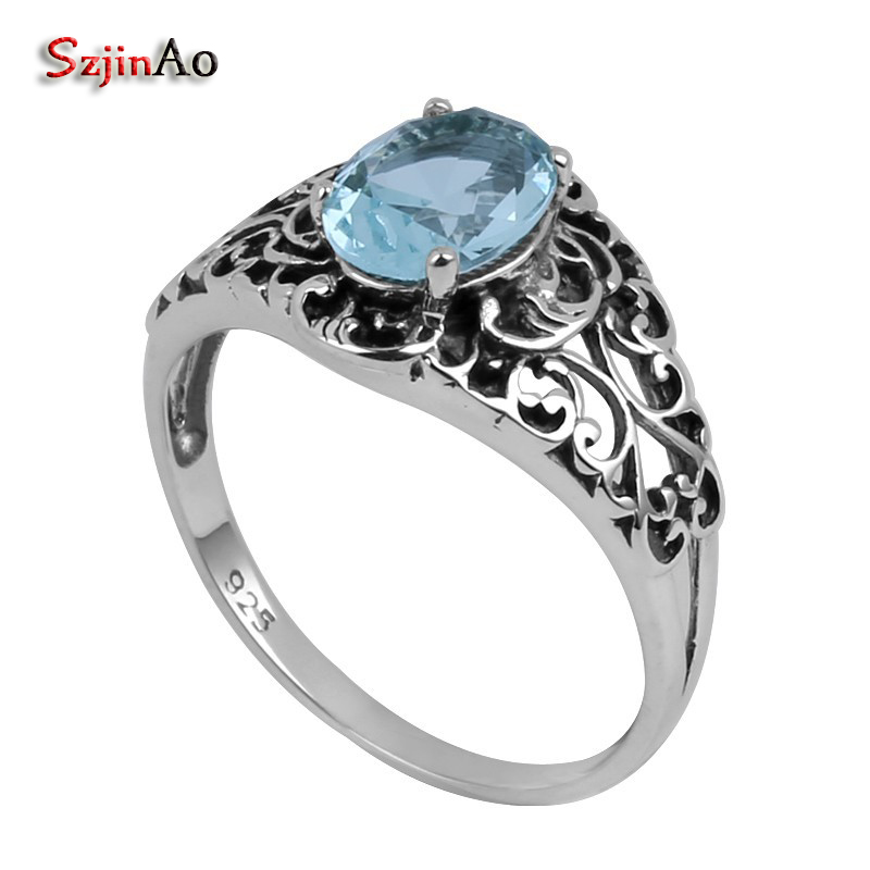 Szjinao Antique Jewelry Wholesale Fashion Vintage Carving Blue Stone Women 100% 925 Sterling Silver Ring