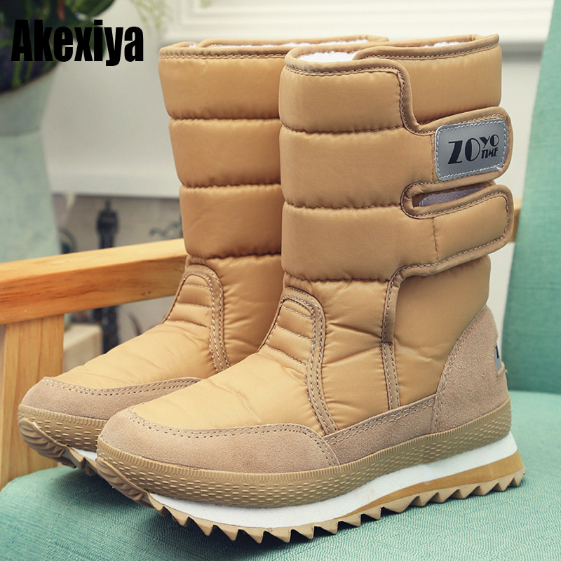 The new Warm Solid Anti-Slip Snow Boots Women Waterproof Female Winter Boots Thermal Shoes цена