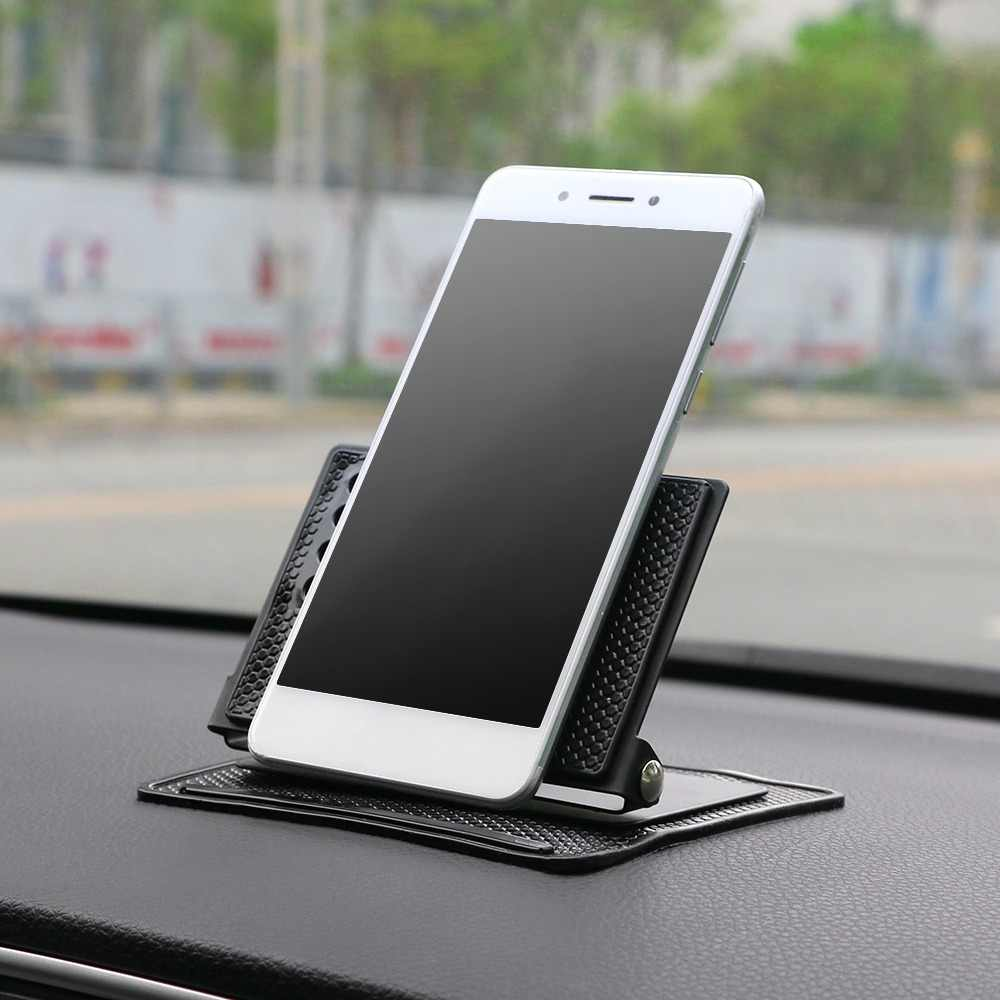 Car Ornament Silicone 360 Rotating Phone Holder Non-Slip Mat Automobile Dashboard Adjustable Angle Sticky Pad For GPS Navigation