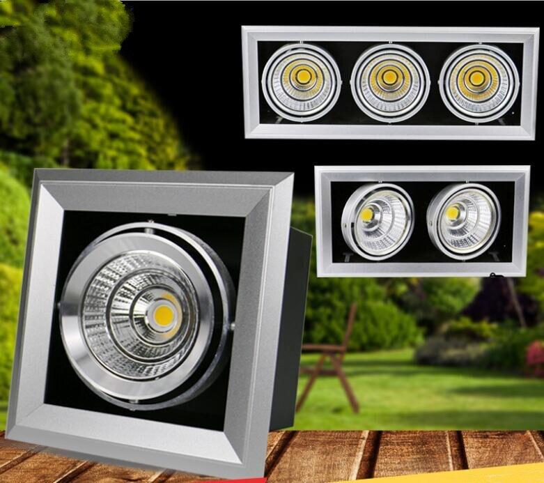 ФОТО High quality 1x10W/2x10W/3x10W Led Grille Lights Square COB LED ceiling Grille light Lamp LED bean pot light 85~265V/AC