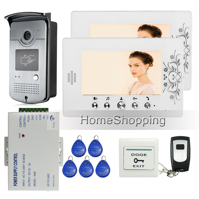 """Free Shipping Home 7"""" LCD Color Video Door Phone Intercom + 1 RFID Access Door Camera + 2 White Monitors + Power Supply Control"""