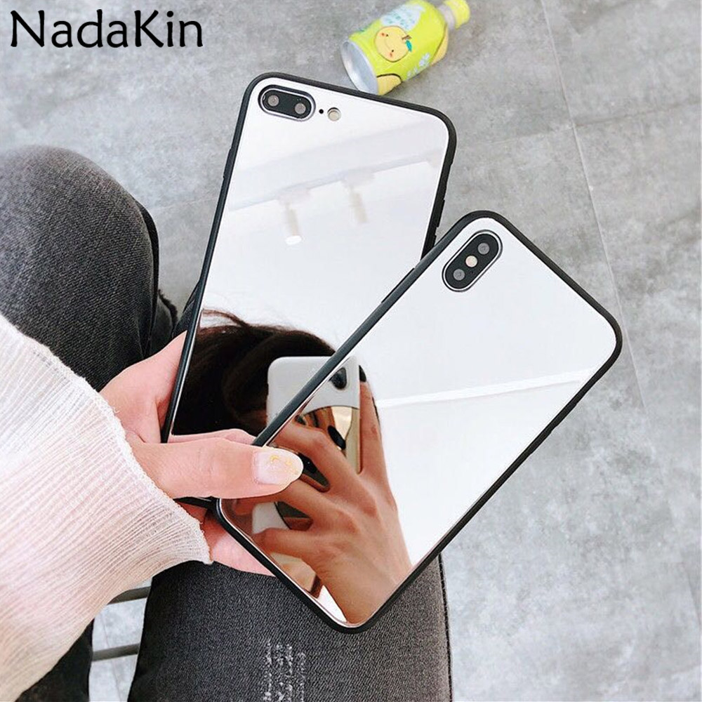 Makeup Mirror Back Fitted Phone Case for Samsung Galaxy A5 2017 A6 A8 Plus A7 2018 Luxury Light Shell With Black TPU Bumper image